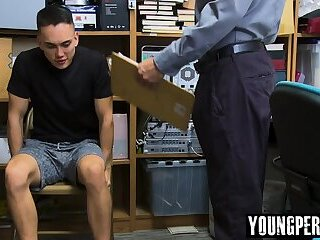 Straight asian perp bareback fucked by gay LP Officer