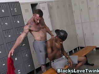 Gay bear rides massive black cock