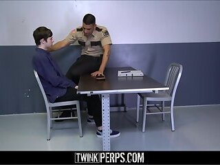 Cute Twink Boy Shoplifter Lets Officer Fuck Him Like His Dad