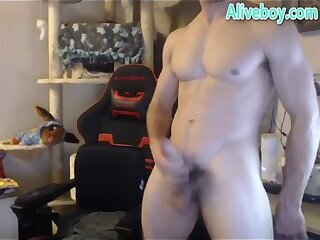 young man teasing on cam