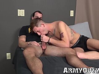 Hunky muscular soldier Alex James barebacks young private
