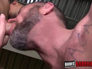 Handsome stud barebacks mature gay after wet cock sucking