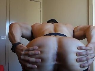 muscular guy changing jockstrap -2