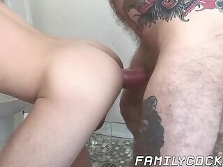 Twink licks armpits of buff dude before being fucked raw