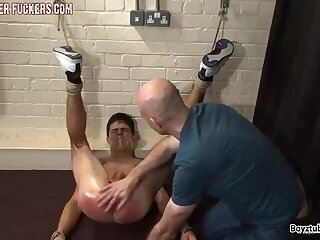 Twink guy gets punished by two daddy
