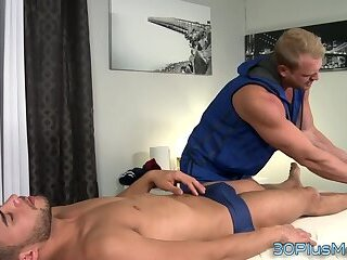 Masseur sucked and rimmed before fuck