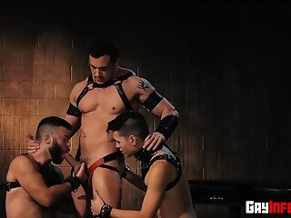 Hunks get their ass hardcore fucked by a dildo machine