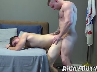 Buff soldiers Mike Johnson and Brandon Anderson bareback