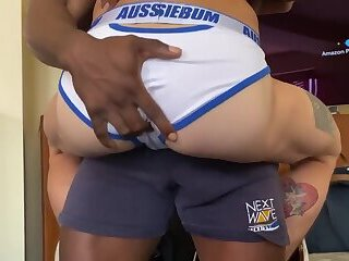 Hot Black Daddy Knows How to Keep His Boy's Pussy Filled