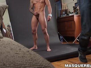 Muscular masked hunk jerks off his big erect cock solo