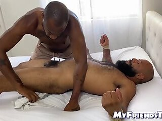 Bearded black hunk tickle tormented and feet worshiped