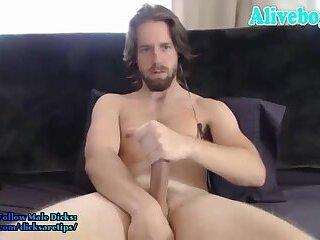 american jock stroking his big dick and cumming on cam