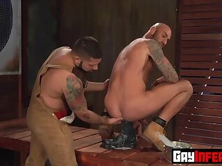 Hunk Latino catches stud bouncing up and down on an enormous toy