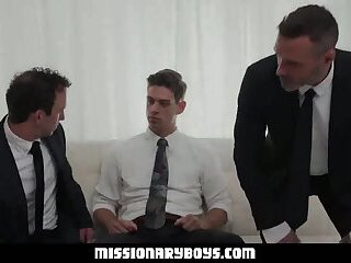 MormonBoyz - Two Hung Religious Men Fuck A Missionary Boy