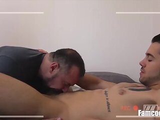 Two Brothers Let Daddy Fuck Their Assholes