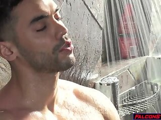 Younger stepbrother pervs on big bro showering and gets fucked