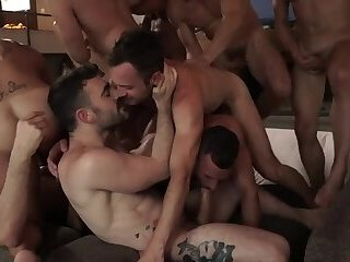 11 Men Bareback Orgy Hot Raw Fuck