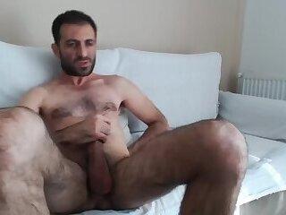 Hairy Hunk Cum on his Leg Iag