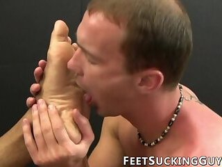 Horny stud licking handsome studs beautiful feet and toes