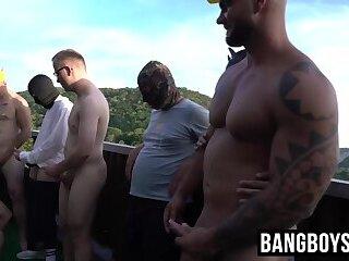 Big dick hunks wild orgy by the pool bareback and hard