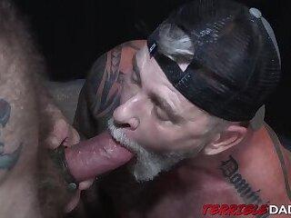 Muscular hairy dudes deepthroating and barebacking hardcore