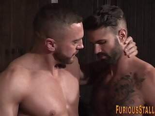 Hairy muscle man riding big dick