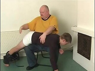 Hard Spanked old boy in house