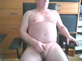 Fat Daddy stroke and cum