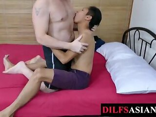 Asian twink dicksucked and barebacked by DILF