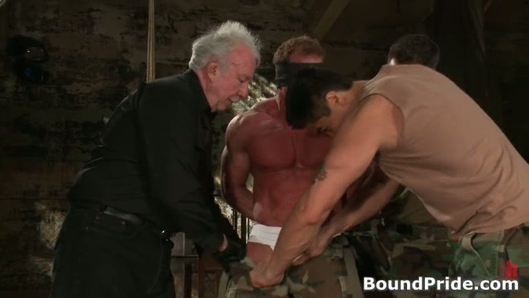 Buffed Dude Blindfolded And Bound Gay Bdsm