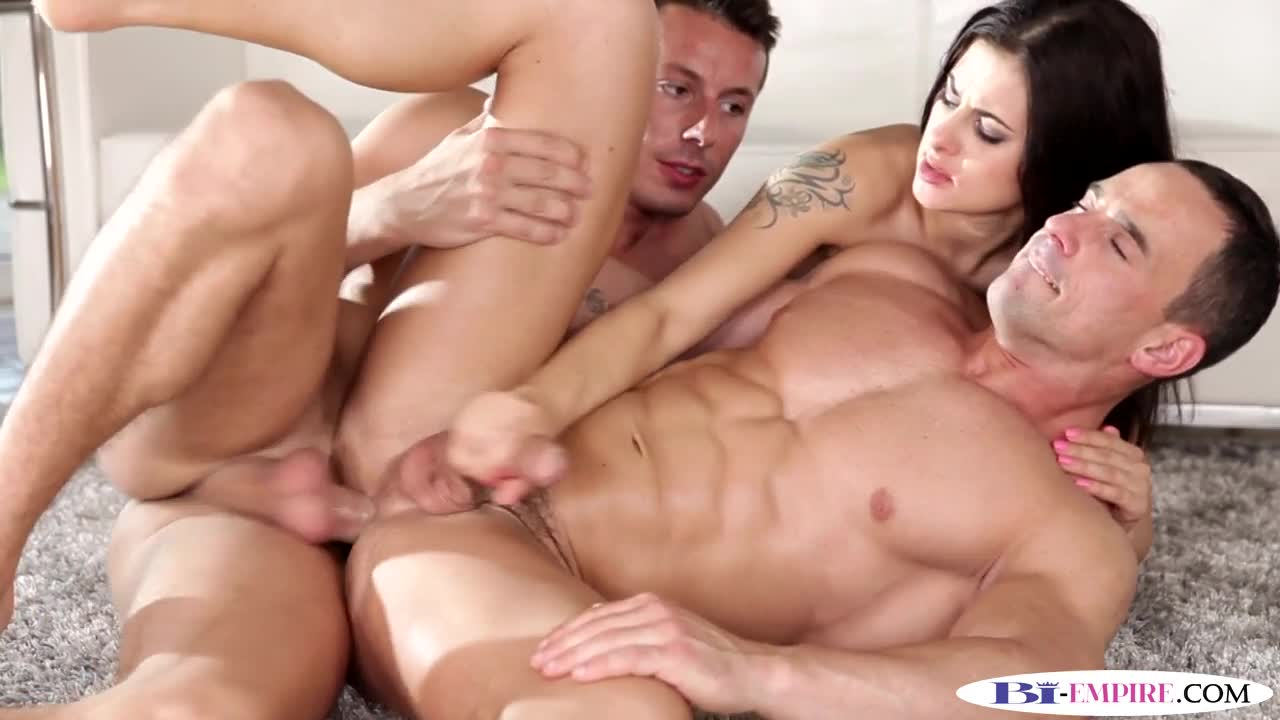 Muscular Studs Spitroasting Busty Babe