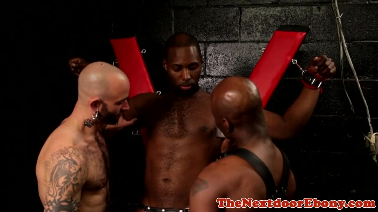 shaved black stud spitroasted in threesome