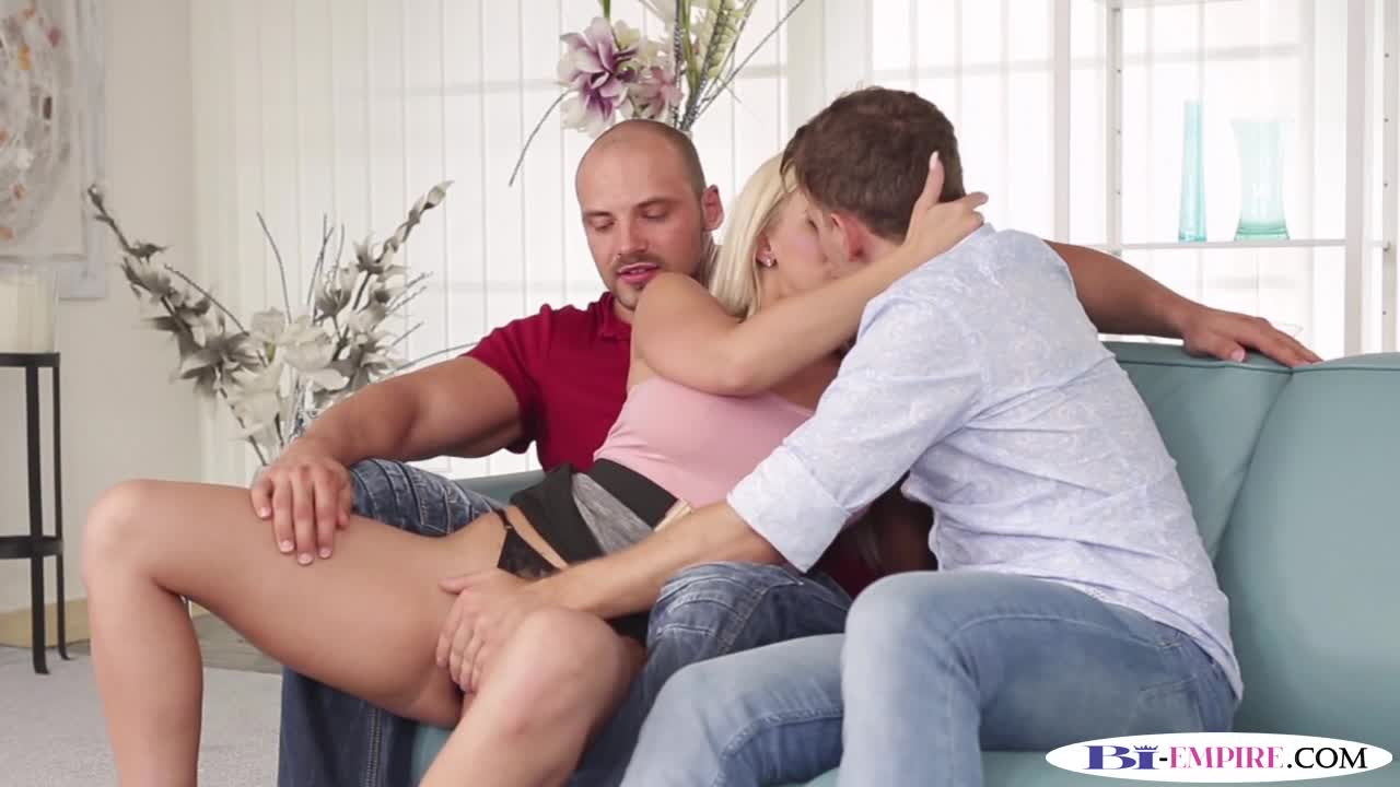 Muscular Studs Spitroasting Busty Babe