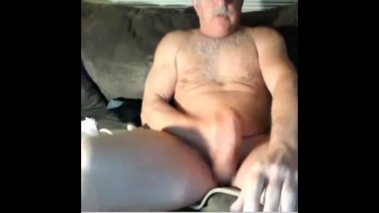Cap wearing grandpa cums