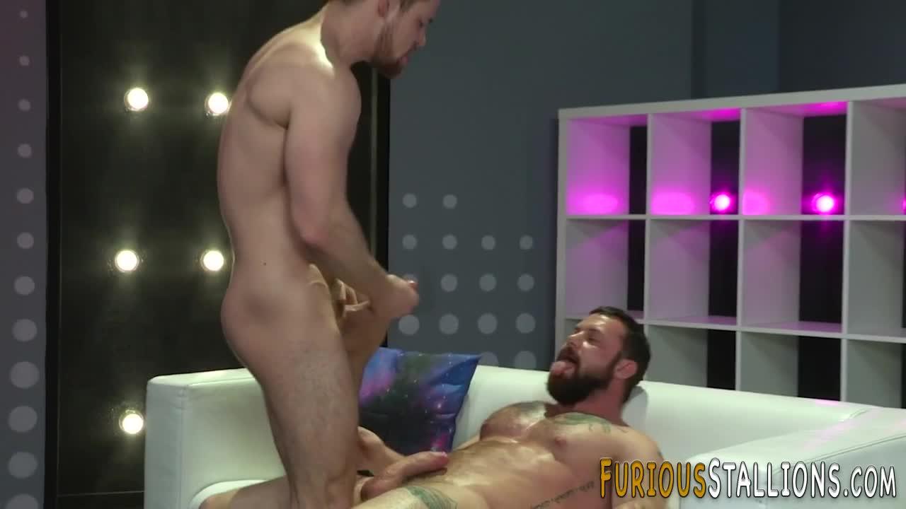 Gay buff guys throating food