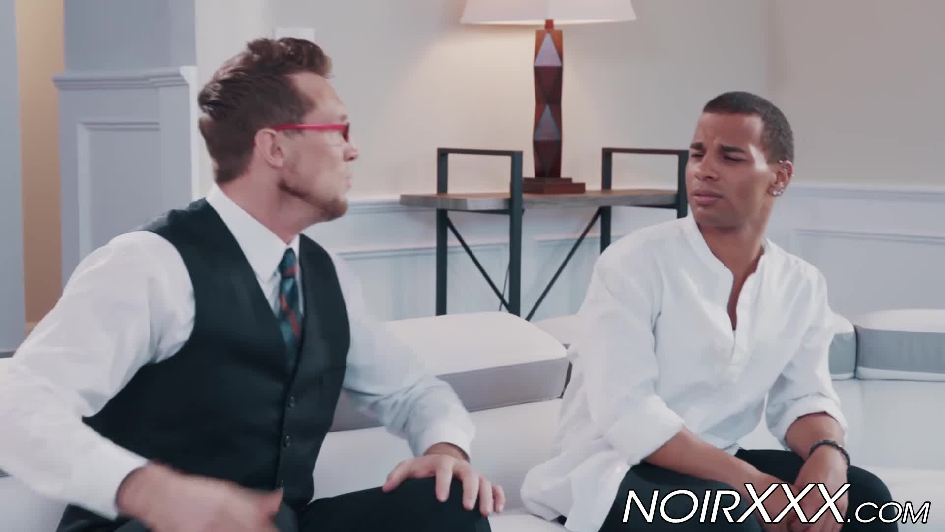 Handsome Tall Businessman Anally Fucks Young Hunky Black Gay